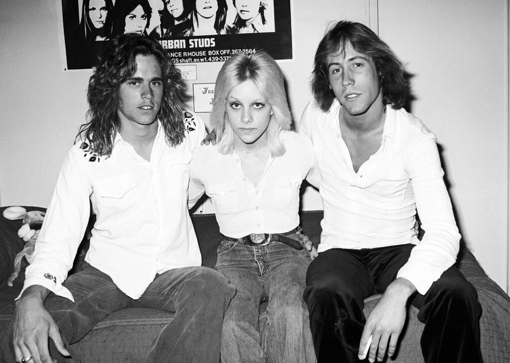 Cherie Currie of the Runaways with friends Woody and Mark, 1977 in her bedroom in the 70's
