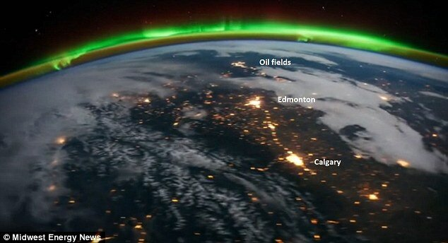 sciencetech article Bakken oil field North Dakota mystery city lit time lapse video space.