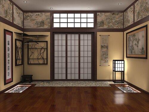 Оформление прихожей в японском стиле.