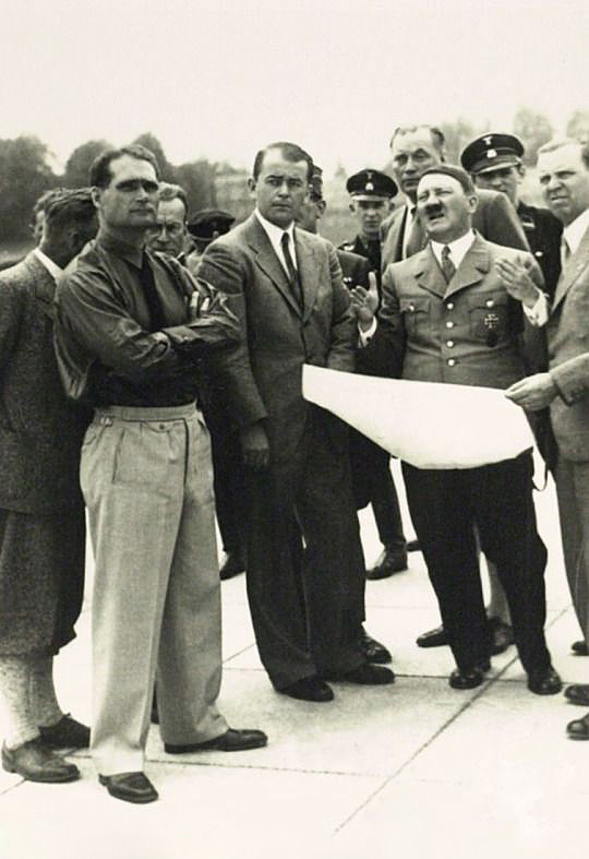 Rudolf Hess, Albert Speer and Adolf Hitler