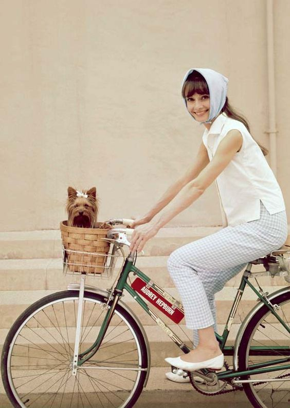 Audrey Hepburn ride a bike