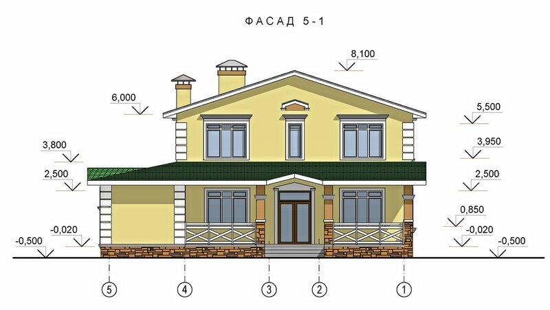 Проект загородного дома, фасад 3