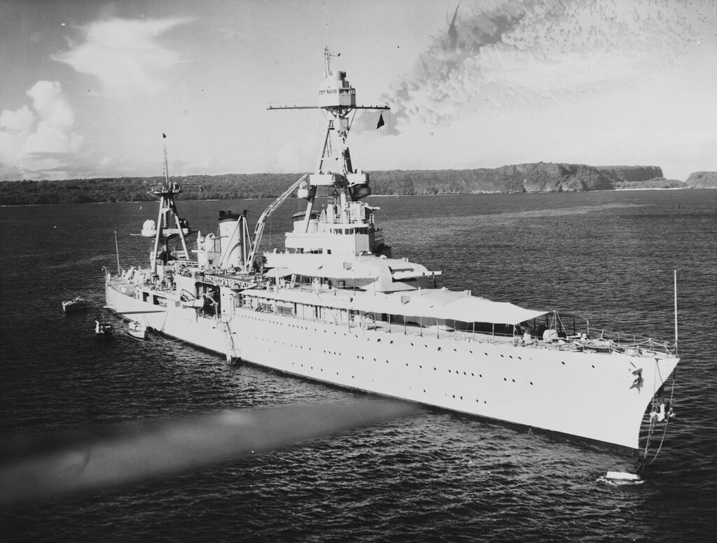 USS AUGUSTA (CA-31), one of three long-forecastled NORTHAMPTON class, fitted out as flagships, 1930s.