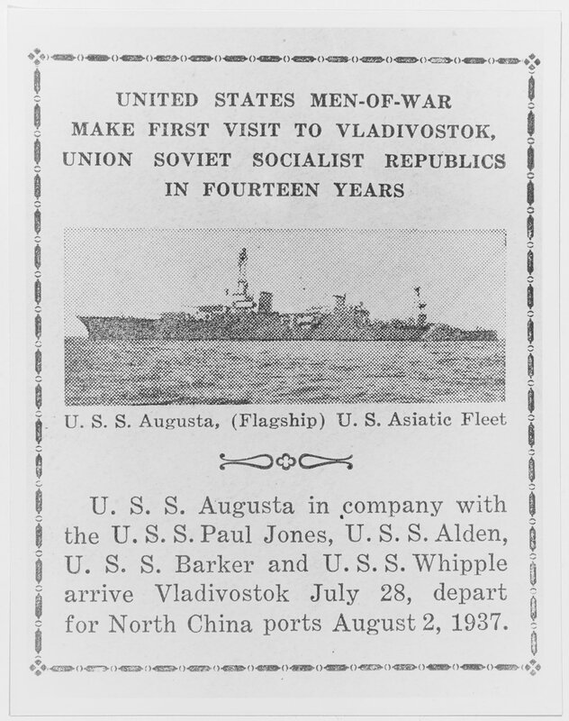USS AUGUSTA (CA-31). Special envelope printed up aboard ship to commemorate the flagship's visit to Vladivostok, USSR, in July of 1937.