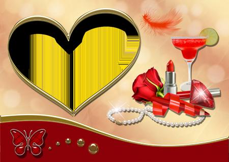 Фоторамка с коктейлем, красной розой, помадой, белыми бусами и алмазом