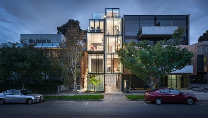 Matt Gibson Architects designed this contemporary five-storey residence, situated in St Kilda, Victo