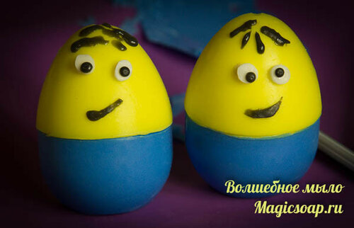 """Мыло-яйцо """"Миньоны"""" - забавное мыло для детей к Пасхе (мастер-класс мыла из мыльной основы)"""