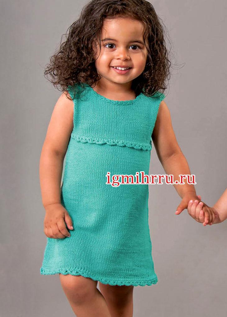 Летнее зеленое платье для маленькой девочки. Вязание спицами
