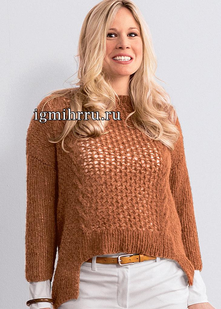 Большие размеры. Пуловер цвета коньяка с удлиненной спинкой. Вязание спицами