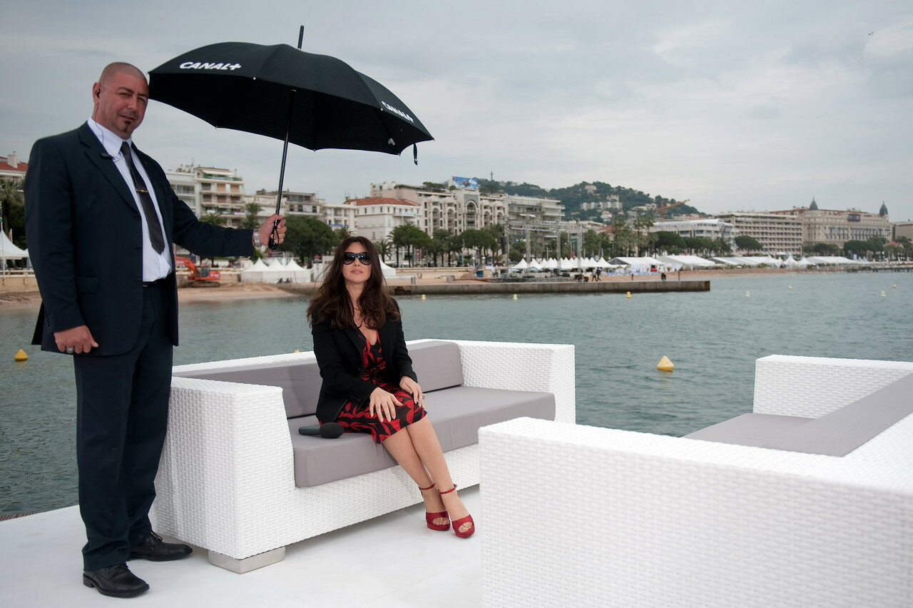 Italian actress Monica Bellucci poses during the record of Canal Plus