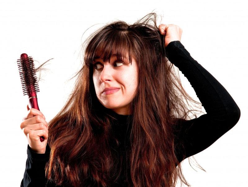 2. Телоген миазмы  «При телогене миазмы происходит обильное выпадение волос на фоне стресса»