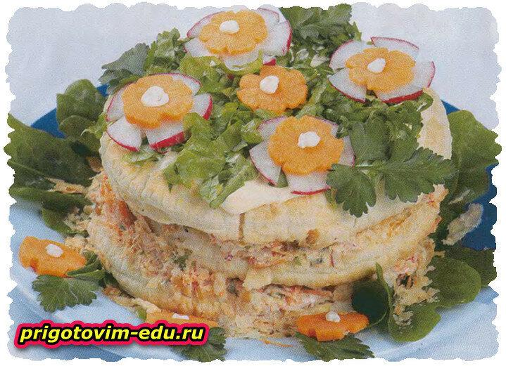 Закусочный торт с овощным паштетом