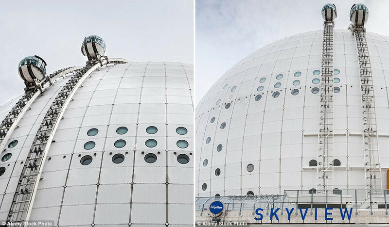 Подъёмник SkyView на внешней стороне арены Эрикссон-Глоб в Стокгольме, которая является крупнейшим зданием сферической формы в мире. Стеклянные лифты доставляют туристов на вершину арены, откуда открывается вид на Стокгольм.