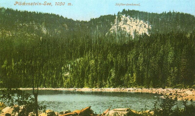 Озеро Плёкенштейнзее (Плешне) с монастырским памятником, 1907 г.