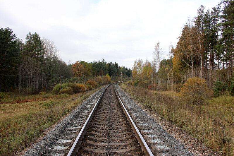 Светофор ПН перед станцией Посинь, перегон Гарнея - Посинь. От бывшего переезда 629 км пк 10