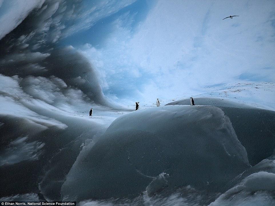 Плосковершинный айсберг, который разваливается.