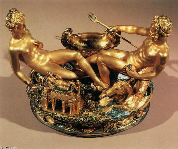 Солонка Челлини «Сальера» — золотая настольная статуэтка, которую в 1543 году изготовил ювелирный ма