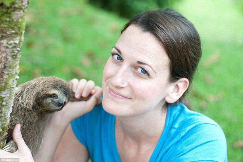 Основательница Института ленивцев Сэм Тралл с одним из своих подопечных.