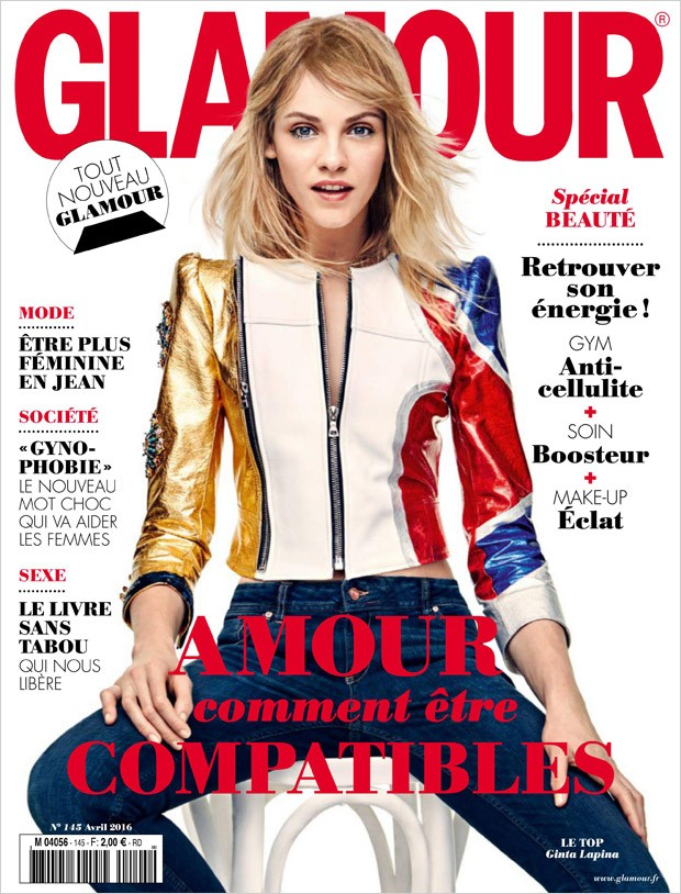 Supermodel Ginta Lapina takes the cover story of Glamour France 's Special Beaute edition capt