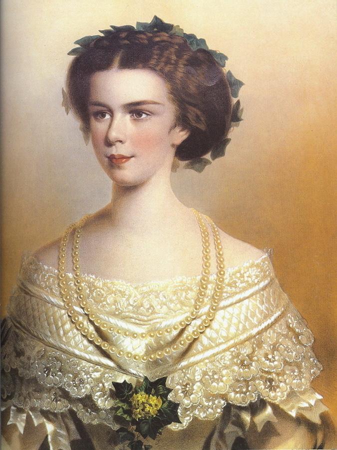 1854 Sissi wearing an evening dress by Eduard Kaiser.jpg