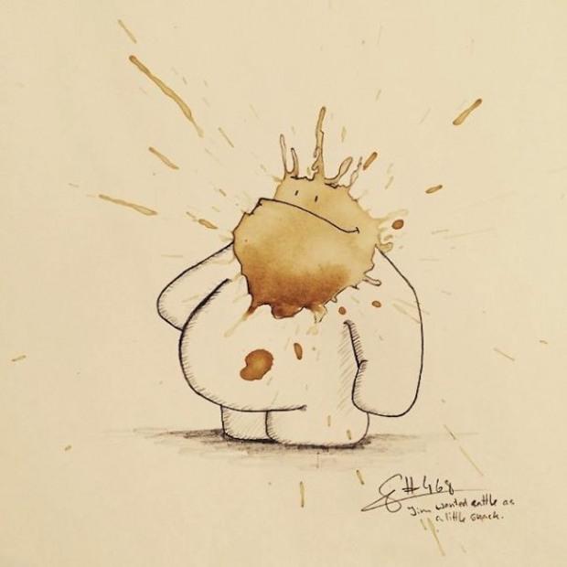 Os monstros do cafe - Stefan Kuhnigk transforma manchas aleatorias em monstrinhos