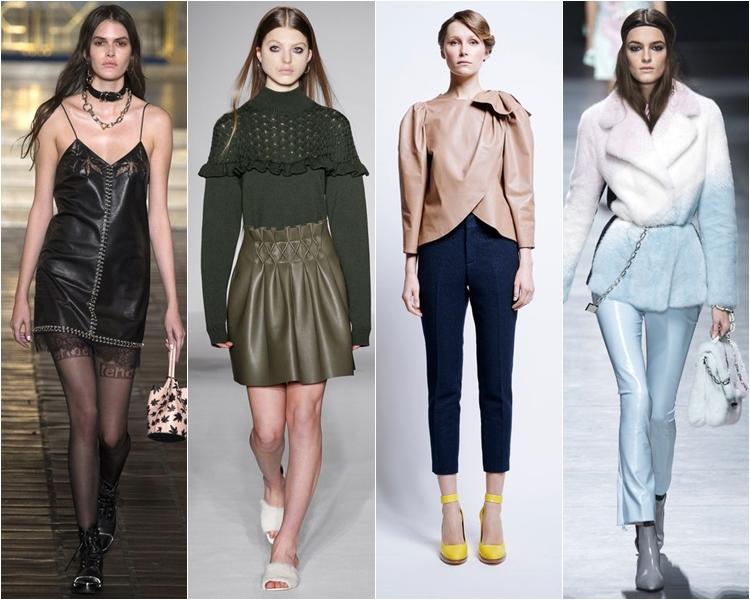 Кожаные платья, юбки и брюки, мода осень-зима 2016-2017