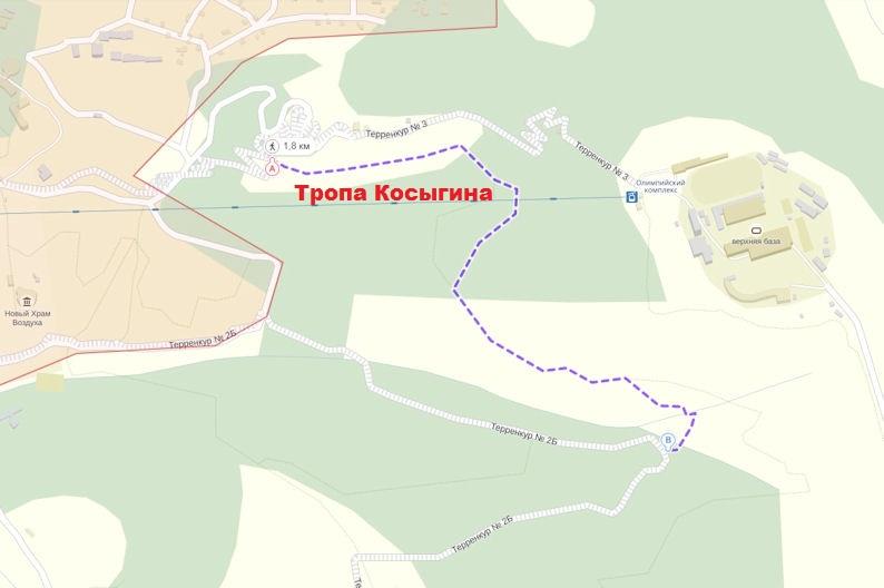 Тропа Косыгина в Кисловодске на карте