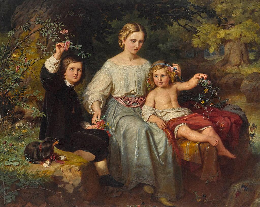 Karl Wilhelm Friedrich Bauerle - Drei Kinder des Verlegers Friedrich Bruckmann.jpg