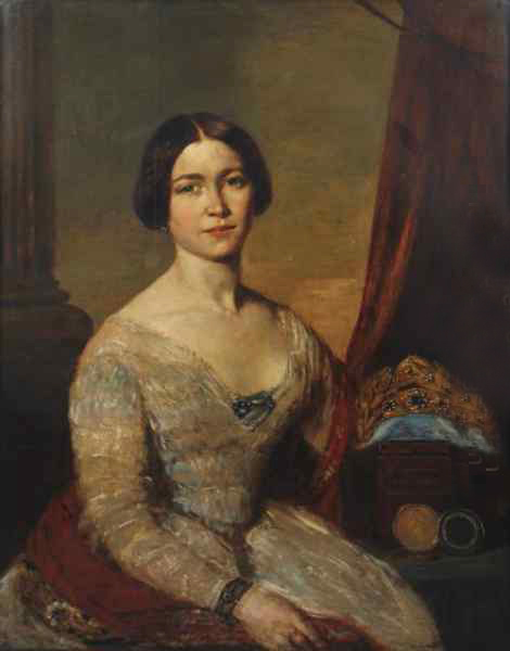 Portrait Of The Famous 19th Century Ballerina Fanny Cerrito Oil Painting - F. Simoneau
