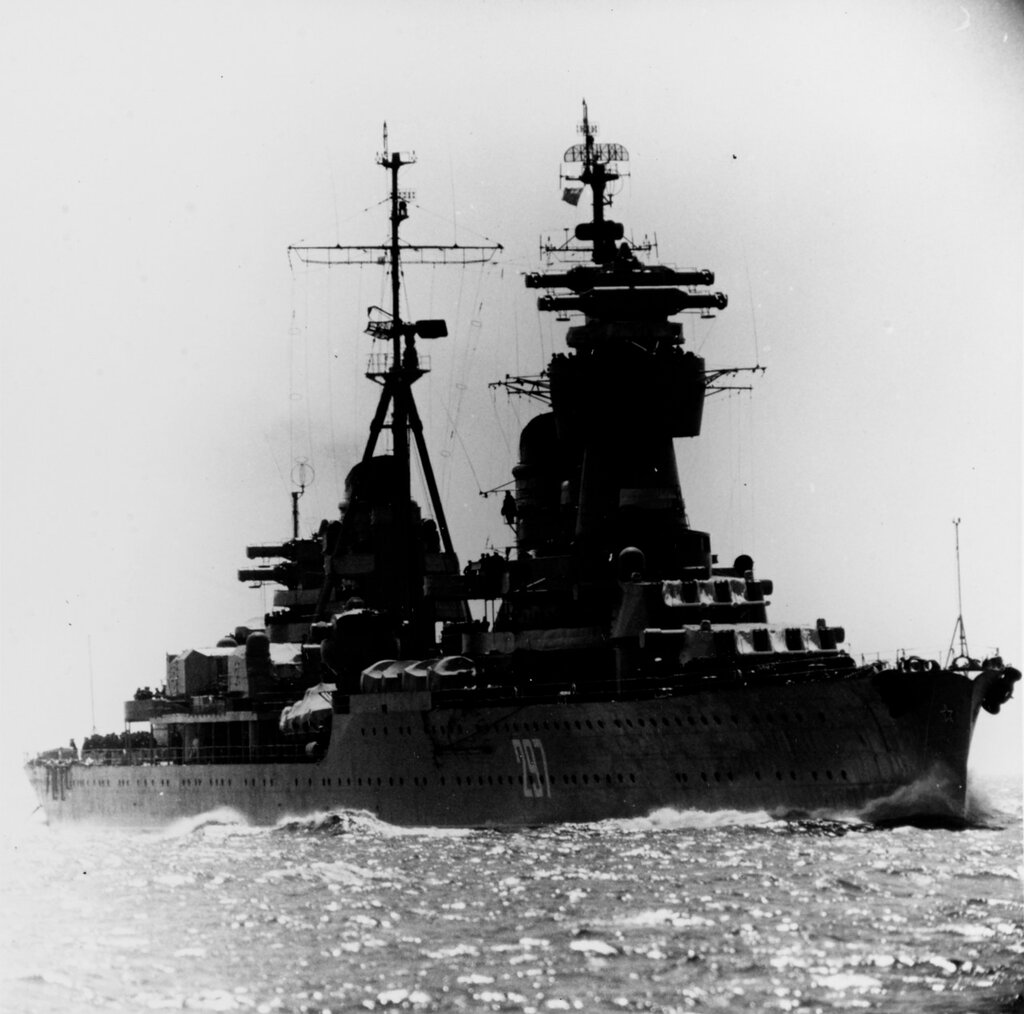 KOMSOMOLETS, Soviet Light Cruiser, photographed during late 1960 in the Baltic.