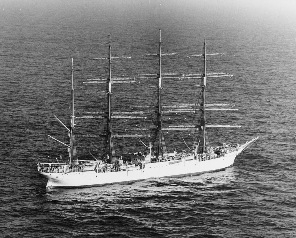 KRUZENSTERN (Soviet Sail Training Ship, 1921) At sea on 14 March 1963.