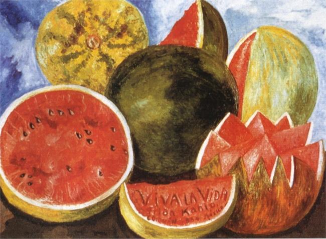 © fridakahlo.org  «Даздравствует жизнь!», 1954 Последняя работа, натюрморт Viva lavida, прек