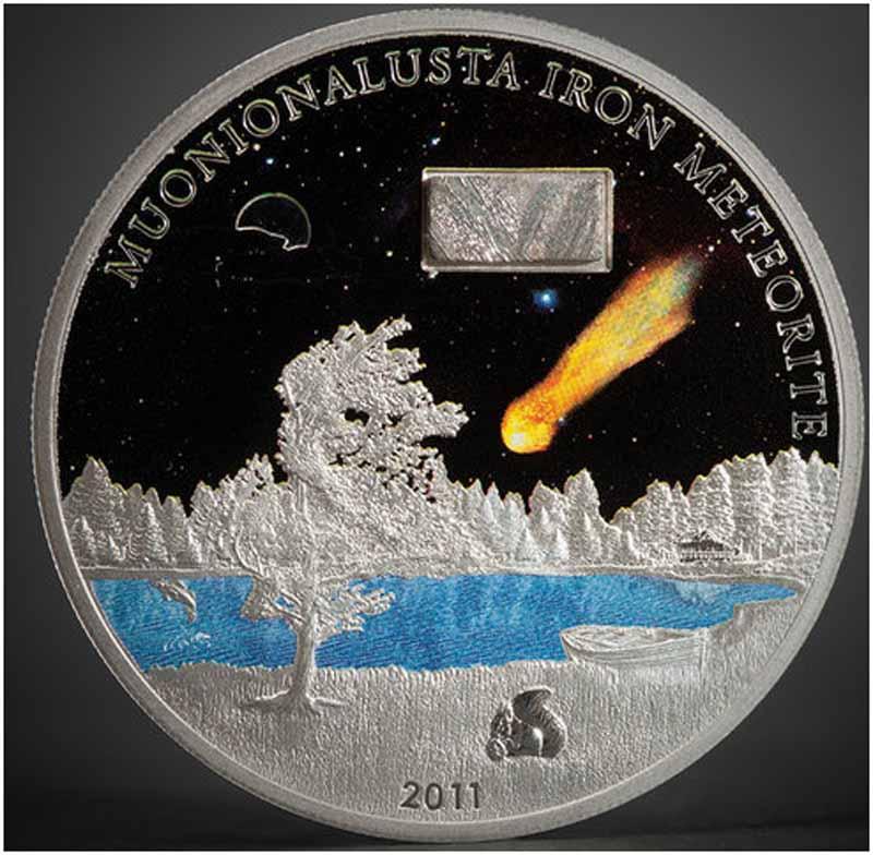 Швеция, 2011 год, монета с куском метеорита.jpg
