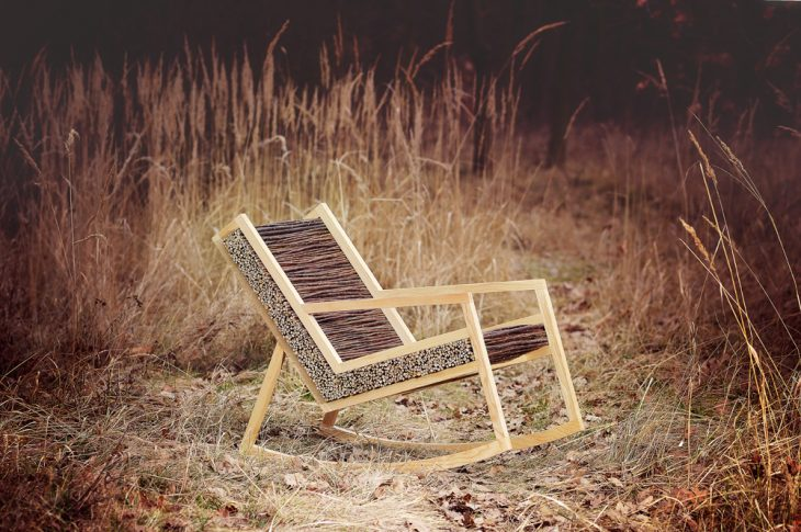 Tomas Vacek designed Haluz, a modern rocking chair made out of wood. A clean and straight line unite