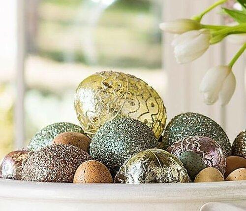 Декоративные яйца в глиттерах