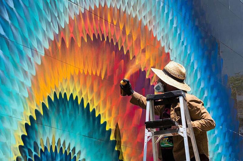 A arte de rua caleidoscopica de Douglas Hoekzema