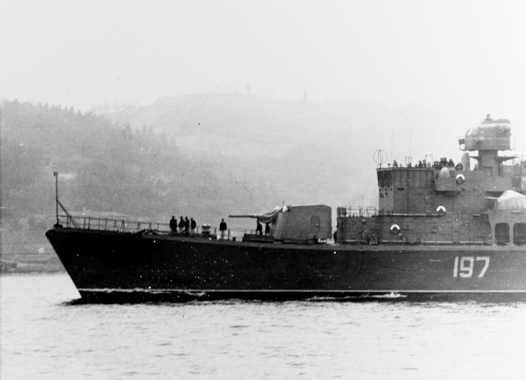 View of the bow of a Soviet SKORYY Class Destroyer, photographed early in January 1962 in the Eastern Mediterranean.