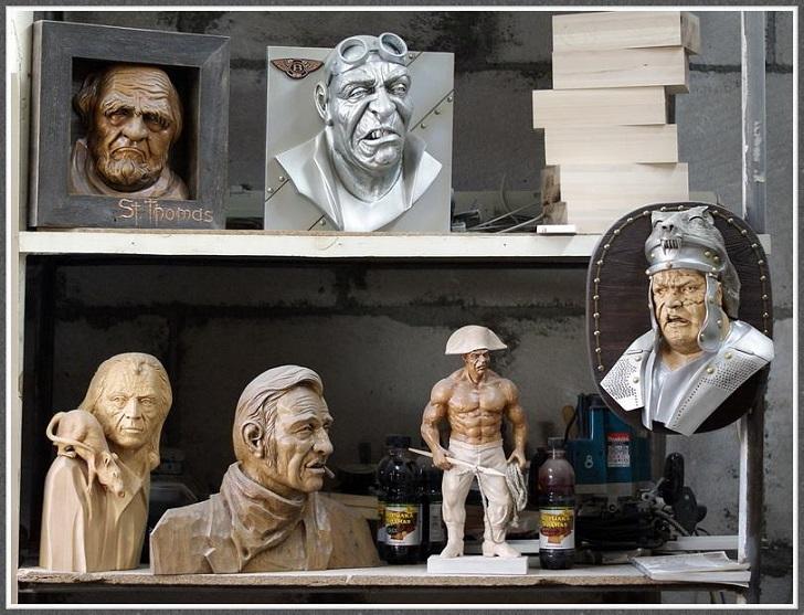 Виртуозные статуэтки застывших в древесине людей и существ