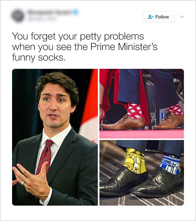 Вы забываете о своих проблемах, когда видите премьер-министра Джастина Трюдо и его веселые носки.