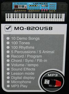 Cинтезатор детский MQ-820USB c МР3-плеером и дисплеем