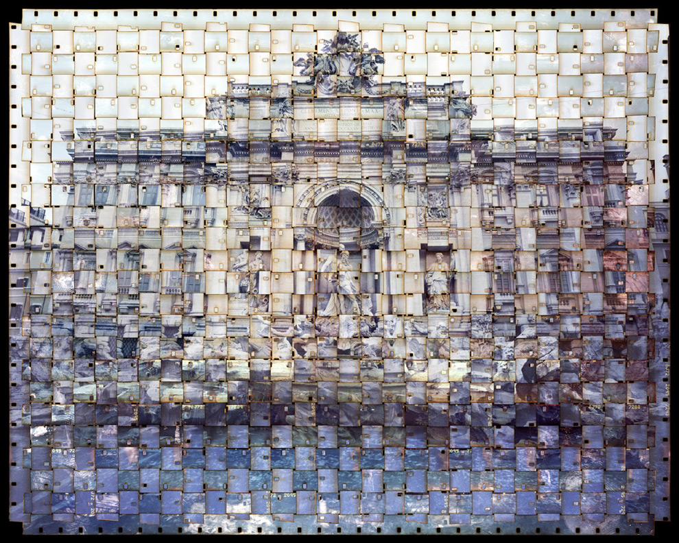 Part collage, part photography, part tapestry, these fragmented interpretations of iconic buildings