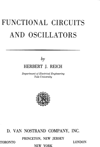 Functional Circuits and Oscillators - Herbert J. Reich - Book Cover
