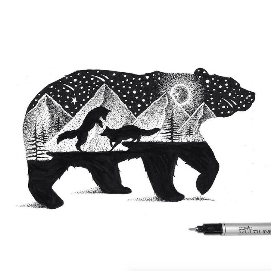 Beautiful Double Exposure Illustrations of Animals