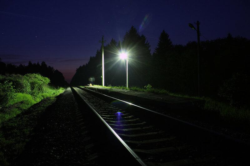Платформа 168 км в ночи. Перегон Осуга - Сычёвка
