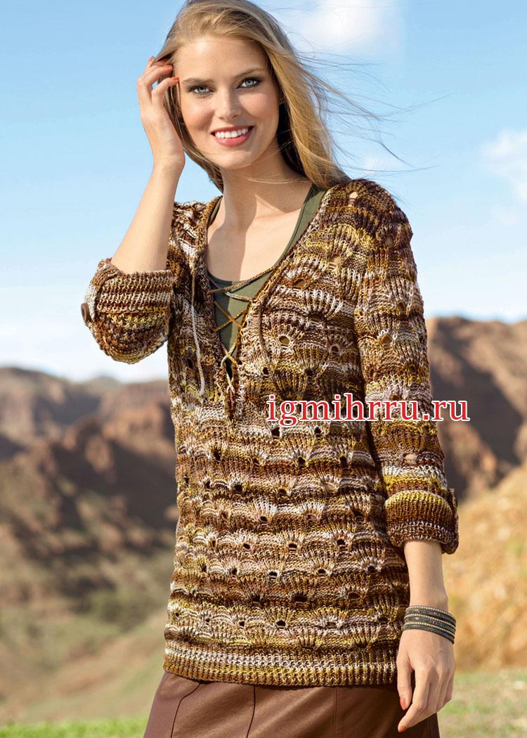 Пуловер на шнуровке и с веерным узором. Вязание спицами
