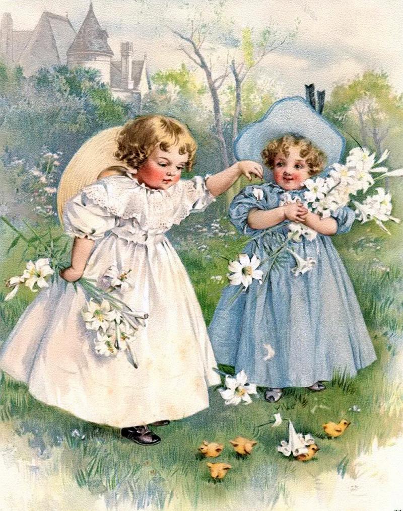 Девочка на старинных открытках 422