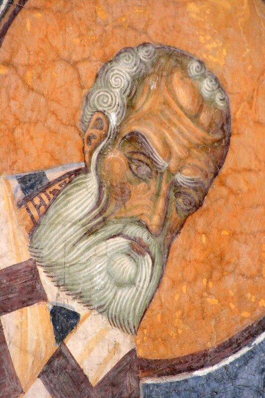 Святитель Григорий Богослов, Архиепископ Константинопольский. Фреска церкви Св. Пантелеимона в Нерези, Македония. 1164 год.