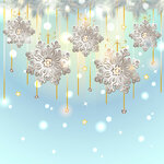 Christmas Card with silver snowflakes decoration