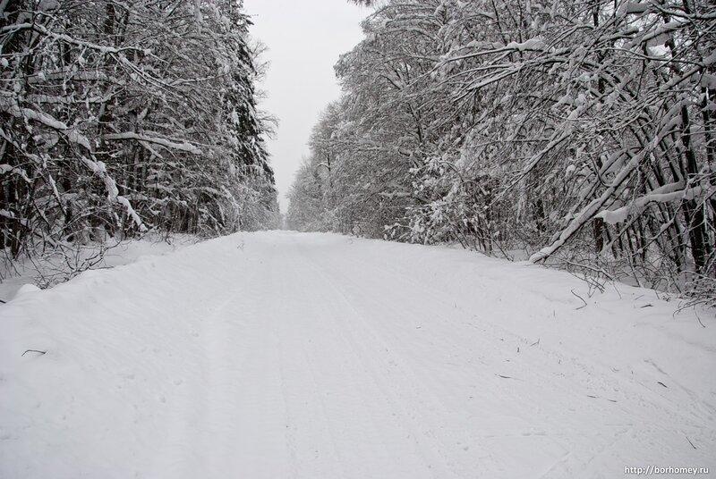 саров дорога в снегу