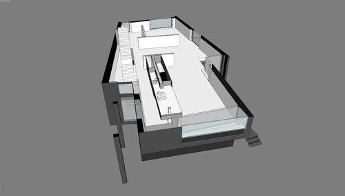 Кухня островок, стол и плита в гостиной. Благовещенка Пятницкое 12 -30 007 Дом с колоннами особняк, благоустроенный дом коттедж Вид сверху разрез